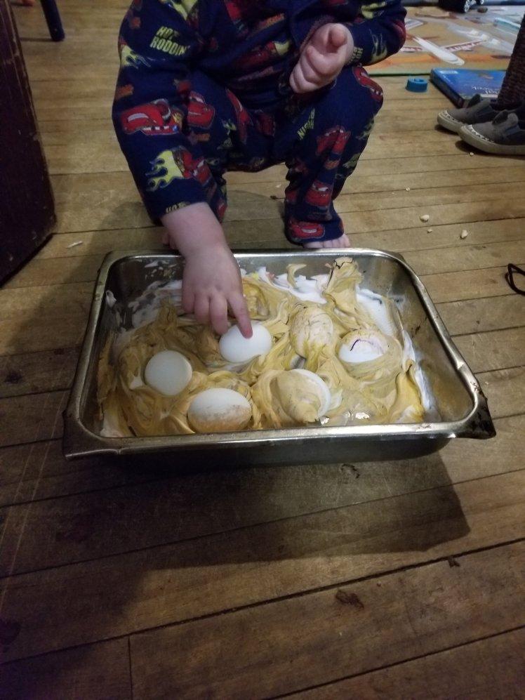 Shaving cream Easter eggs